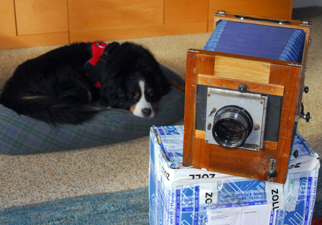 """a Russian wooden large camera FK FKD 18x24 7x9"""" with shutter"""